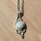 Sterling Silver Gemstone Moonstone Crystal Silver Necklace. Boho Jewellery