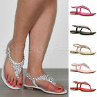 WOMENS LADIES FLAT SLINGBACK GEM DIAMANTE TOE POST T-BAR BRIDESMAID SANDALS SIZE