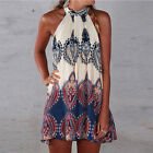 Women's Halter Top Mini-Skirt Sundress Summer Evening Party Beach Dress DK7