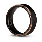 Tungsten Carbide Black and Rose Gold Black Mens Wedding Engagement Ring Band