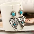 Earrings Triangle Turquoise Earrings Silver Antique Earring Blue Nature Stone