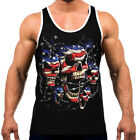 Patriotic American Skull Mens Tank Top WT T Shirt Workout Fitness US Flag July 4 image