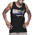 Blue Line USA Map - Police Cops All Lives Blue Lives Pride Protect Tank T-Shirt image