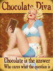 CHOCOLATE DIVA CHOCOLATE IS THE ANSWER - SIGN METAL PLAQUE VINTAGE NOSTALGIC 144