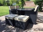 Rattan Cube Set 4/8 Seater Aluminium Garden Furniture & Parasol Hole