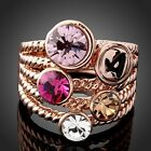 CZ Zircon Women Ring Rose Gold Plated Colourful Austrian Crystal Weddding Rings