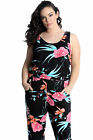 New Ladies Plus Size All In One Women Jumpsuit Floral Print Side Pocket Nouvelle