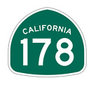 California State Route 178 Sticker Decal R1246 Highway Sign