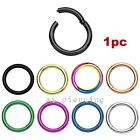 1pc Anodized Steel Seamless Hinged Segment Ring Hoop Ear Cartilage Labret Septum