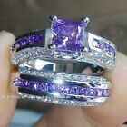 Women Jewelry 925 Sterling Silver Wedding Set Rings Zircon Princess Crystal Ring