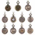 Vintage Steampunk Retro Bronze Pocket Watch Quartz Pendant Necklace Chain Gifts image