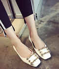 Women Fashion Soft Square Toe Studded Buckles Flat Heel Casual Work Shoes Comfy