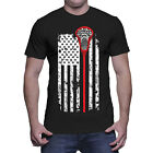 Lacrosse American Flag - USA LAX Net Ball Field America Red Line Mens T-Shirt image