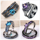 2pcs/Set 925 Silver Blue Sapphire Amethyst Wedding Engagement Ring Size 6-10