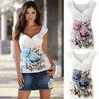 Summer Women's Casual Floral Short sleeve V-neck T-shirt Blouse Tops PLUS SIZE