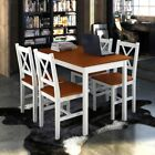 vidaXL Kitchen Dining Set Wooden Furniture Seat Table and Chairs White/Brown