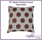 "18"" Spots Cushion Cover Natural, Chocolate, Terracotta, Burgundy & Jet"