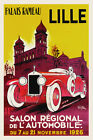 Vintage Art Deco French Poster Lille Motor Show Car Print 1920s Man Cave Retro