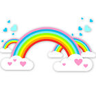Childrens / Kids Bedroom Rainbow Clouds & Hearts Wall Stickers (Girls Sticker)