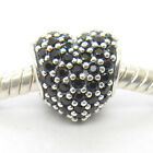 Authentic Genuine S925 Sterling Silver Black Pave Heart Charm