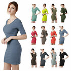 [FINAL SALE] Womens Plus-size Short Sleeve V-neck Rib Cotton Knit Casual Dress