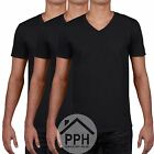 3 Pack Gildan Soft BLACK Mens V Neck T Shirt Plain Wholesale Work wear Tshirt