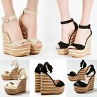 Womens Ladies High Heel Platform Wedge Summer Sandals Espadrilles Party Size UK