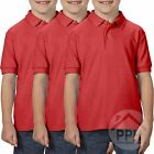 3 Pack Gildan Dry Blend Double Pique Childrens RED Polo Shirt School Uniform