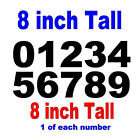 """0-9 Numbers 1x Set Vinyl Decals 8"""" Inches - DIY Sign Semi Trailer - Select Color"""