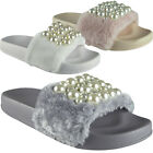 Womens Ladies Comfy Plain Rubber Pearls Sliders Flats Shoes Slides Slippers Size