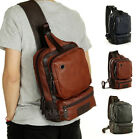 Men's Artful Sling Chest Shoulder PU Leather Backpack Satchel Bag Day Packs