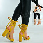New Womens Ladies Ankle Wrap Sandals High Block Heels Sandals Shoes Size Uk 3-8