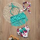 Summer Swimwear Kids Baby Girl Tankini Tassel Floral Split Swimsuit+Beadband