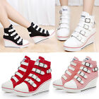 New Womens casual Classic canvas shoes Buckle wedge high heels Sneakers Athletic