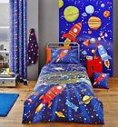Catherine Lansfield Blue Flying Saucers Outer Space Boys Bedding Range Single