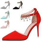 Womens Strap Pandent High Heels Stilettos Formal Suede Sandals Pointed Toe Shoes