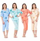 New Ladies Pyjama Set 3-4 Length Short Sleeve Button Nightwear Soft PJ's M-3XL