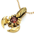 Mens Gold Steel Scorpion King Pendant Necklace with Red CZ, 30 inches Ball Chain