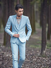 Stock Light Blue Men's New Casual Slim Fit Skinny Formal Tuxedos Business Suits