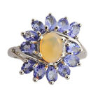 Ethiopian Opal & Tanazanite Natural Gemstone Ring In 925 Sterling Silver Jewelry