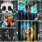 Oil Painting Art Waterproof Fabric Bathroom Shower Curtain Hooks Set Home Decor
