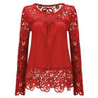 Fashion Women Ladies Long Sleeve Shirt Embroidery Lace Chiffon Casual Blouse Top New with tags