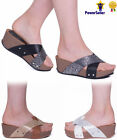 WOMENS LADIES GIRLS SLIP ON FLAT COMFY TREAD FLATFORMS SHOES CORK SANDALS SIZE