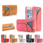 New Leather Magnetic Zipper Holder Flip Wallet Card Case Cover For iPhone 5 6