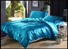 LAKE BLUE SOLID SATIN SILK 5PC(4PC SHEET SET+ 1PC DUVET COVER) IN ALL USA SIZE