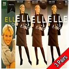 3 PAIRS ELLE BRANDED LADIES 70 DENIER RIB TIGHTS ONE SIZE Once Gone! It's Gone!