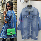 Fashion Womens Oversized Blue Denim Distressed Ripped Long Jacket Outwear M-XL