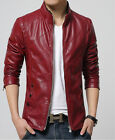 New Men's collar motorcycle jackets Slim washed leather jacket Coat outwear XXL