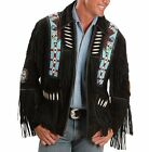 Mens Traditional Suede Leather Western Jacket Coat With f...