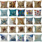 3D Ocean Life Cotton Linen Pillow Cover Sofa Cushion Cover Home Decor Pillowcase
